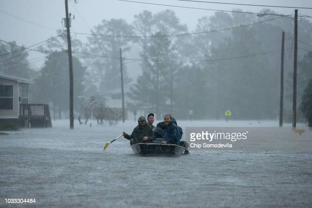 Volunteers from all over North Carolina help rescue residents from their flooded homes during Hurricane Florence September 14 2018 in New Bern North...