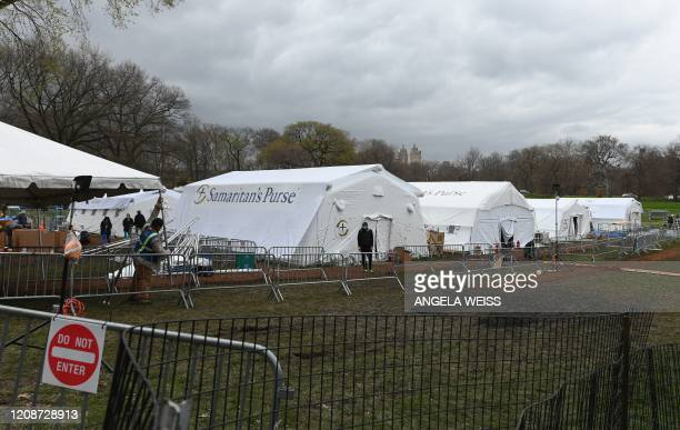 Volunteers from the International Christian relief organization Samaritans Purse set up an Emergency Field Hospital for patients suffering from the...