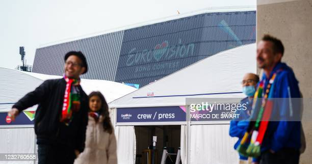 Volunteers gather at Ahoy convention centre, where the first participants in the Eurovision Song Contest rehearse in Rotterdam, on May 8, 2021. - The...