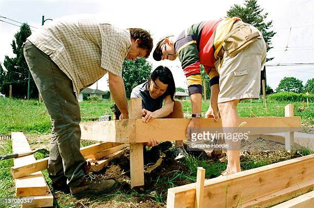 Volunteers helped to build some of the new garden boxes in the 'Triangle' area of Cedar Cottage Community Gardens in Vancouver. The CCCG was built...