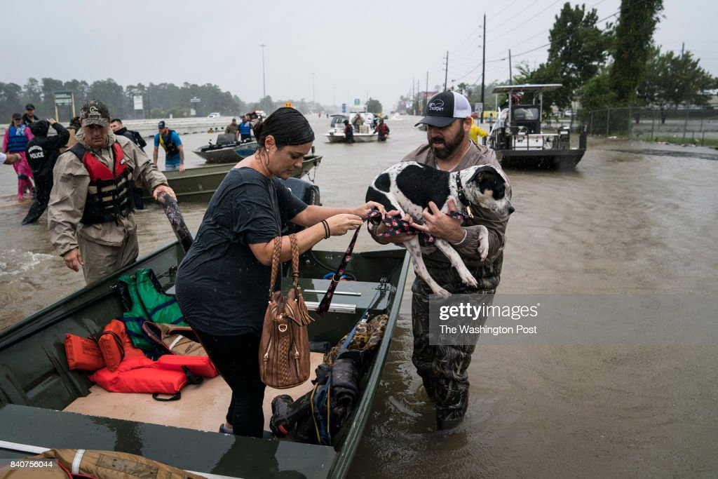 Volunteers in boats rescue people and their pets from their homes near interstate 45 in Houston, TX on Tuesday, Aug 29, 2017. Rising water from Hurricane now Tropical Storm Harvey pushed thousands of people to rooftops or higher ground Sunday as the had to flee their homes in Houston.