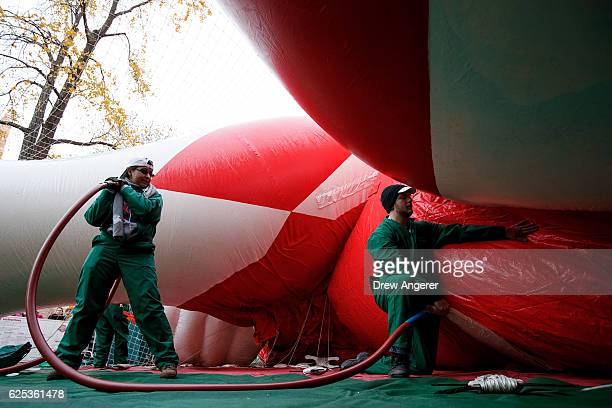 Volunteers inflate the Power Ranger balloon prior to Thursday's Macy's Thanksgiving Day Parade November 23 2016 in New York City This year will be...