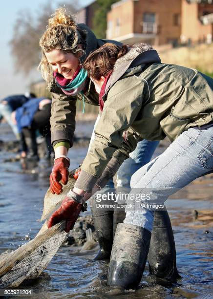 Volunteers Lahla Smart and Sarah Kuhl work to remove plastic waste from the banks of the river Thames during the lowest daytime tide in five years at...
