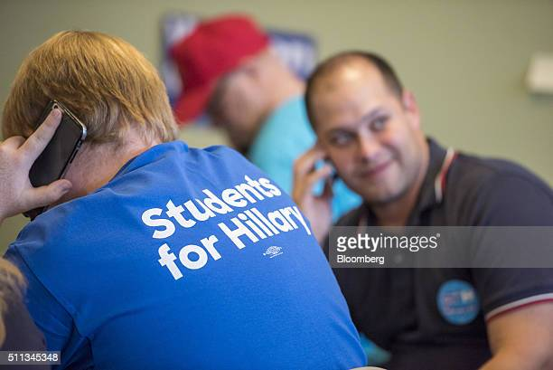 Volunteers make phone calls at a campaign office for 2016 Democratic presidential candidate Hillary Clinton in Las Vegas Nevada US on Friday Feb 19...