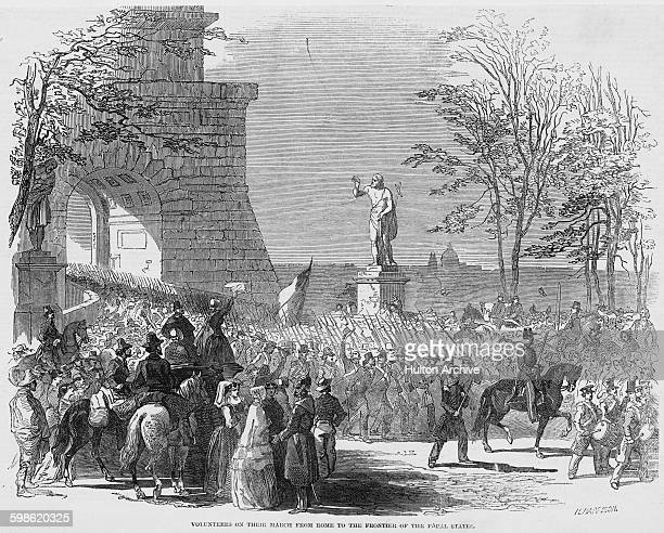 Volunteers march out for the front in the Papal States from the outskirts of Rome during the First Italian War of Independence on 24 March 1848 at...