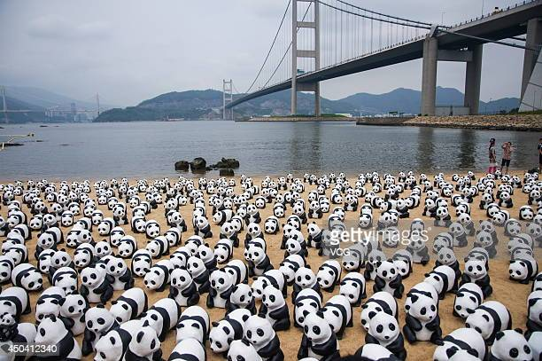 Volunteers pass pandas made by French artist Paulo Grangeon jointly with WWF with recycled papers at the beach under Tsing Ma Bridge for the first...