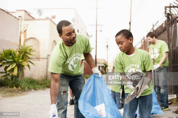 Volunteers picking up litter