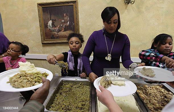 Volunteers prepare free Thanksgiving meals at CityTeam Ministries on November 23, 2011 in San Francisco, California. CityTeam Ministries in San...
