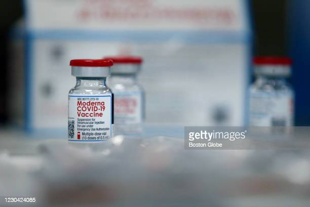 Volunteers prepared doses of the Moderna COVID-19 Vaccine at Forand Manor in Central Falls, RI on December 30, 2020. As part of the first phase of...