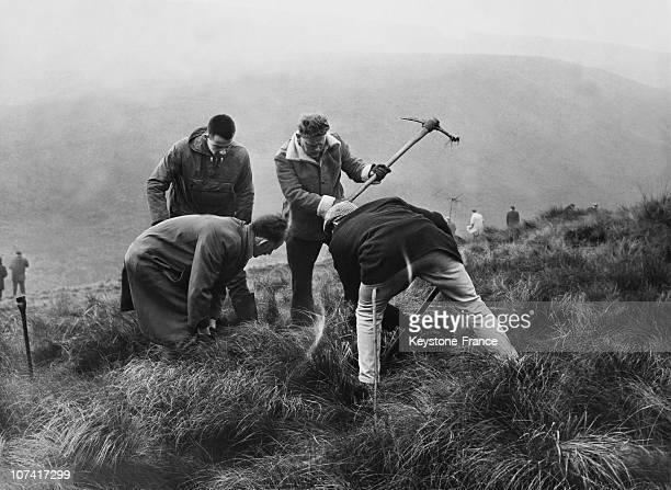 Volunteers searching moorland for evidence in the murder of 10 year-old Lesley Ann Downey, Cheshire, October 18th 1965.