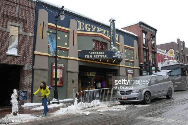 Volunteers shovel snow as Park City prepares for the 2019 Sundance Film Festival on January 23 2019 in Park City Utah