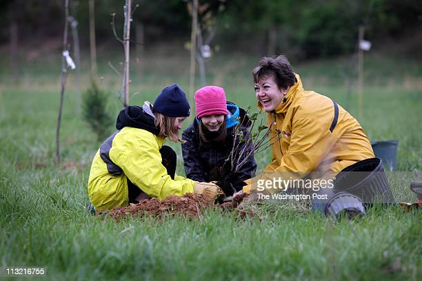 Volunteers Svetlana Mack Julia Madsen and her mother Caren Madsen help plant trees as part of a major reforestation project at the Oaks Landfill in...