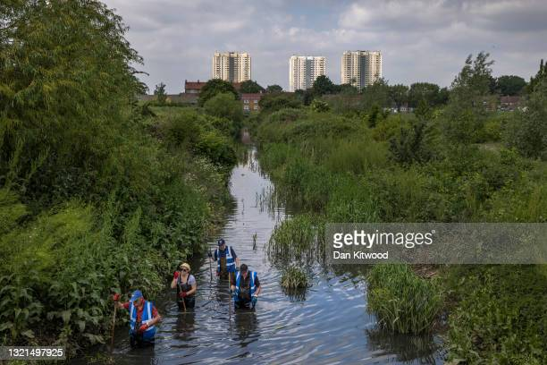 Volunteers take part in a river cleanup, organised by the waterway advocacy group Thames21, on June 03, 2021 in London, England. The event invited...