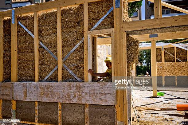 Volunteers work at the Social Centre Corto Circuito the Cinecittà neighborhood that reconstructs the pavilion of 250 square meters destroyed in the...