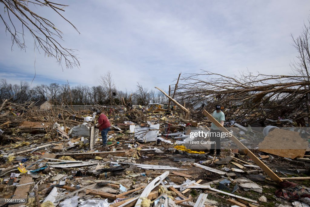 22 Dead As Tornadoes Roar Across Tennessee, Including Nashville : News Photo