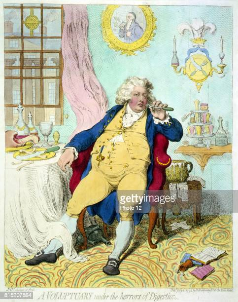 A voluptuary under the horrors of digestion Caricature of George IV as the Prince of Wales languid with repletion leaning back in an armchair at a...