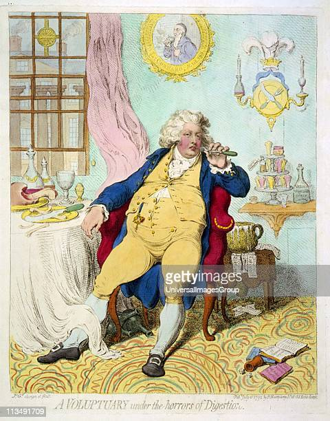A Voluptuary under the horrors of digestion' George IV when Prince of Wales showing his extravagance grossness and selfindulgence Cartoon by James...
