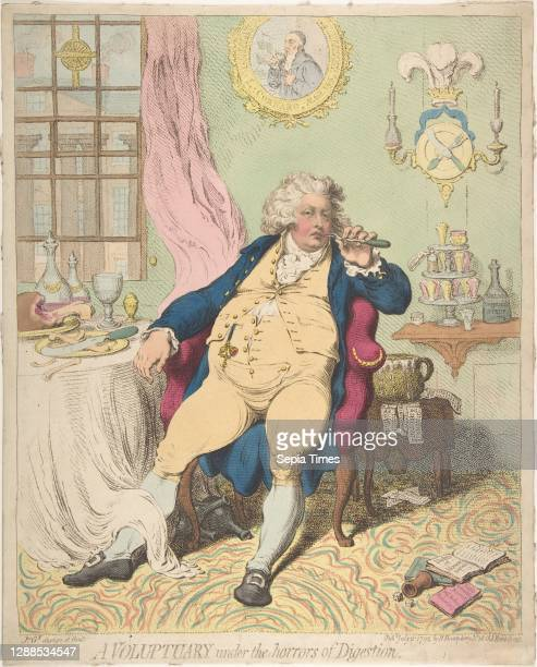 Voluptuary Under the Horrors of Digestion, July 2 Hand-colored etching, sheet: 14 3/8 x 11 9/16 in. , Prints, James Gillray , Gillray's famously...