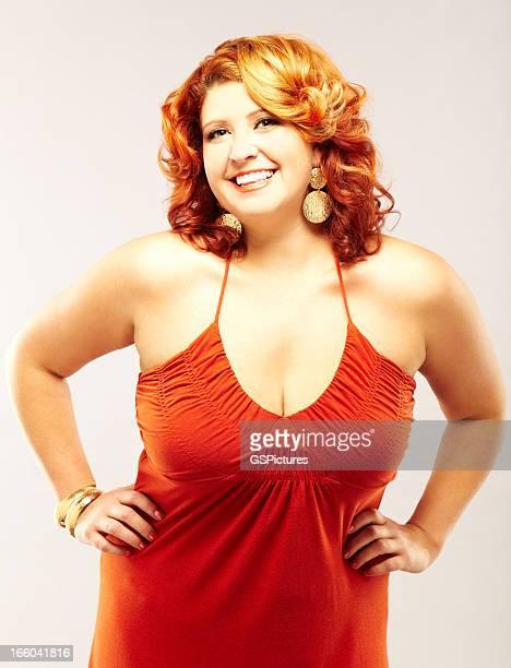 voluptuous redhead fashion model