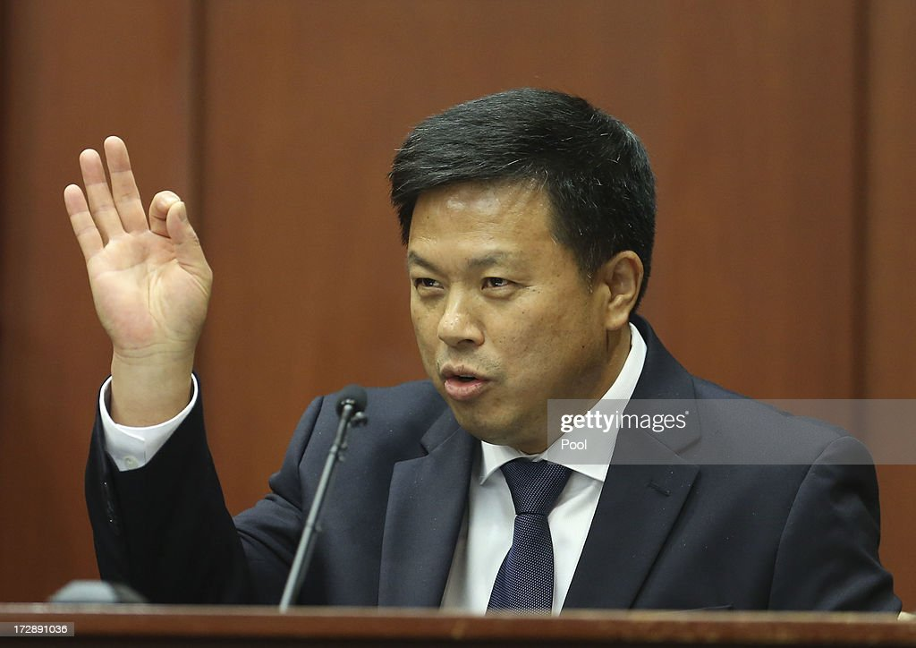 Volusia and Seminole County associate medical examiner Shiping Bao MD testifies during the George Zimmerman trial in Seminole circuit court, July 5, 2013 in Sanford, Florida. Zimmerman is charged with second-degree murder for the February 2012 shooting death of 17-year-old Trayvon Martin.