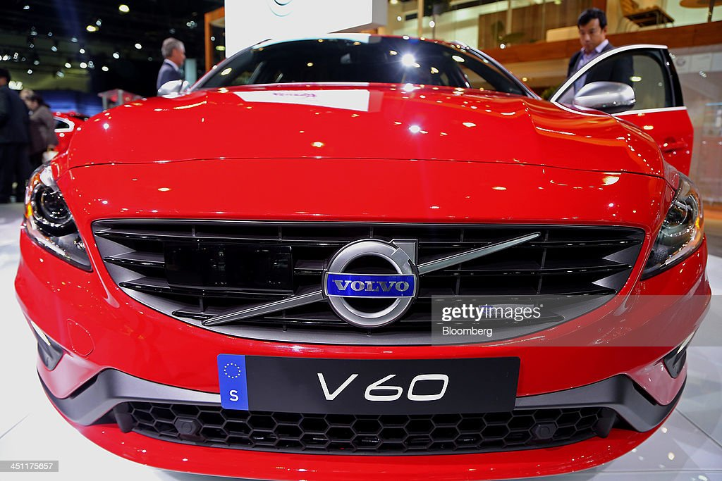 A Volvo AG V60 vehicle is displayed during the LA Auto Show in Los Angeles, California, U.S., on Thursday, Nov. 21, 2013. The 2013 LA Auto Show is open to the public Nov. 22 - Dec. 1. Photographer: Jonathan Alcorn/Bloomberg via Getty Images