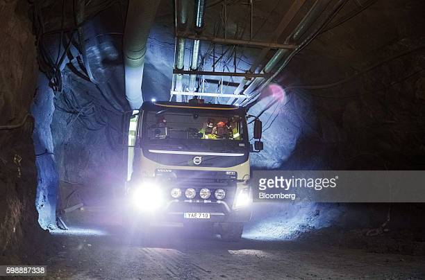 A Volvo Autonomous FMX selfdriving truck manufactured by Volvo Group drives through underground tunnels at Kristineberg mine in the Boliden area in...