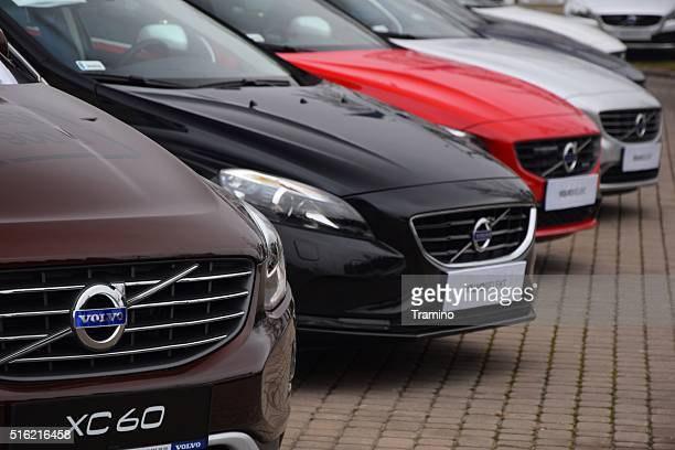 volvo cars in a row - volvo stock pictures, royalty-free photos & images