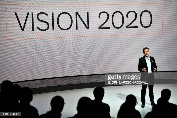 Volvo CEO Hakan Samuelsson speaks about the company's security work during a press conference in Gothenburg Sweden March 20 2019 / Sweden OUT