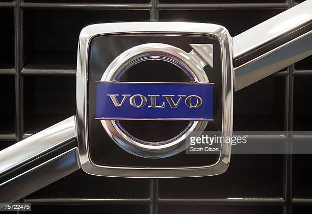 Volvo logo is displayed on the grill of a new car sitting in a showroom July 26 2007 in Chicago Illinois Ford which owns the Volvo brand today posted...