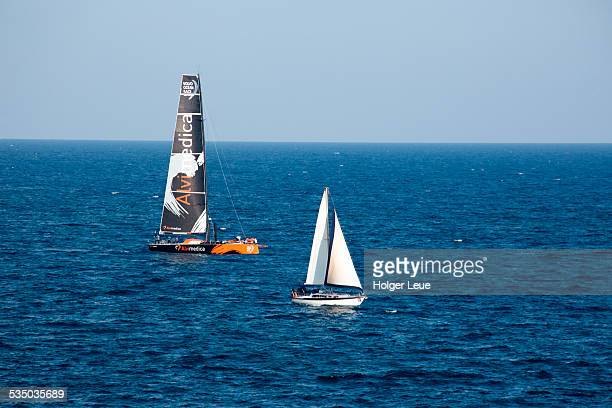 volvo ocean race yacht alvimedica and sailboat - volvo stock pictures, royalty-free photos & images