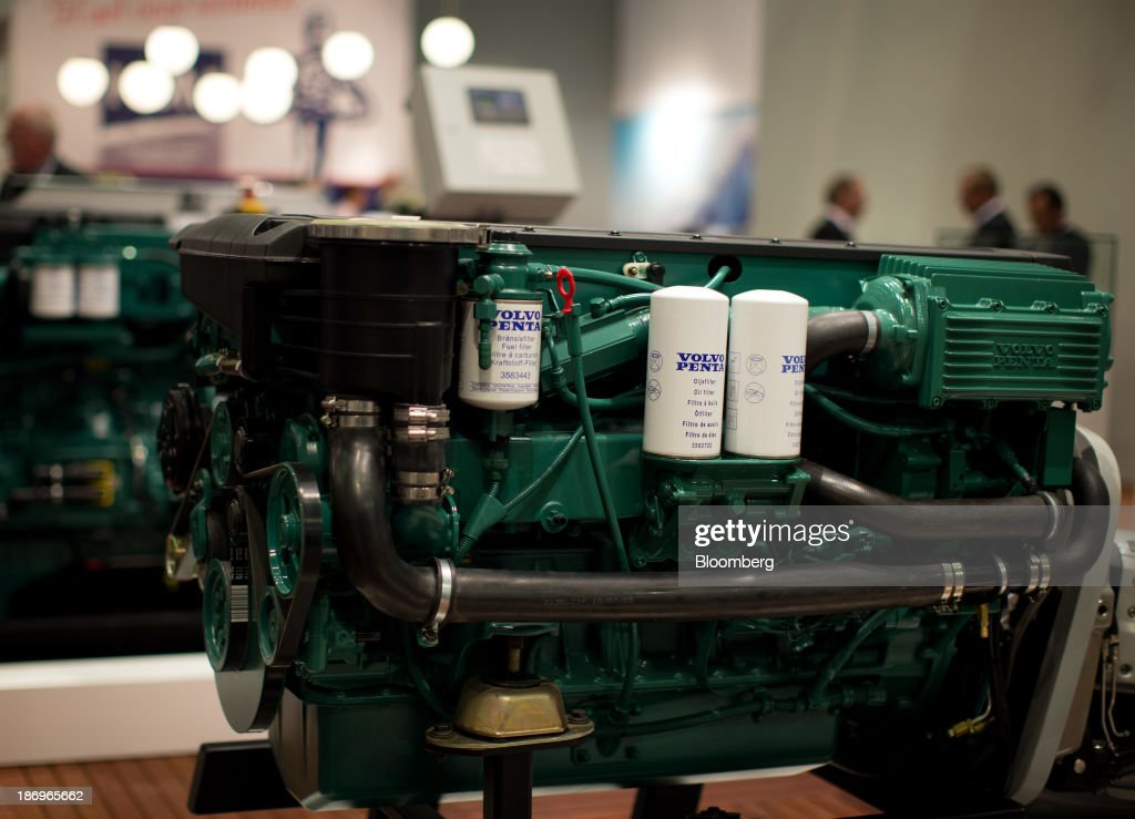 A Volvo Penta diesel boat engine, a unit of Volvo AB, sits