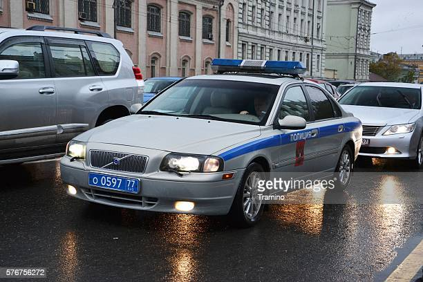 Volvo police car on the Moscow street