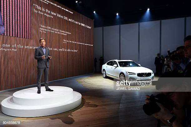 Volvo president and CEO Hakan Samuelsson presents their semiautomated Volvo S90 during the press preview of the 2016 North American International...