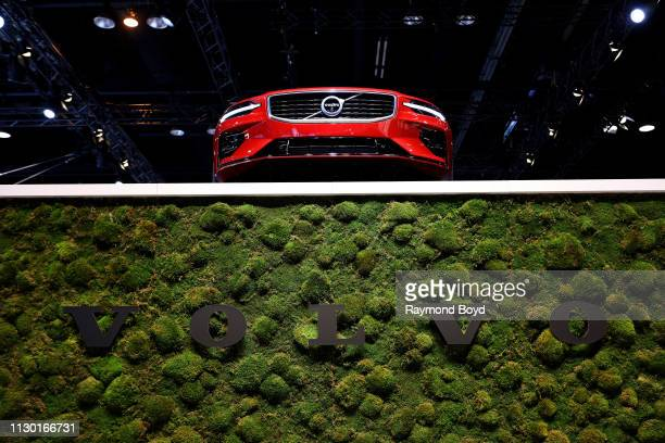 Volvo S60 sits atop Volvo signage at the 111th Annual Chicago Auto Show at McCormick Place in Chicago Illinois on February 7 2019