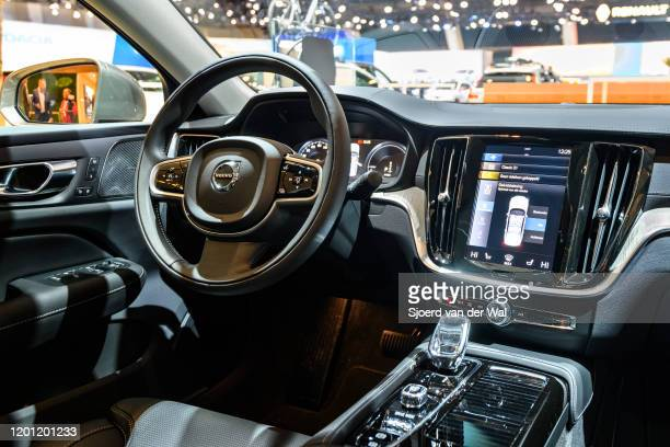 Volvo S60 T8 executive plug-in hybrid sedan car interior on display at Brussels Expo on January 9, 2020 in Brussels, Belgium. The Volvo S60 is...