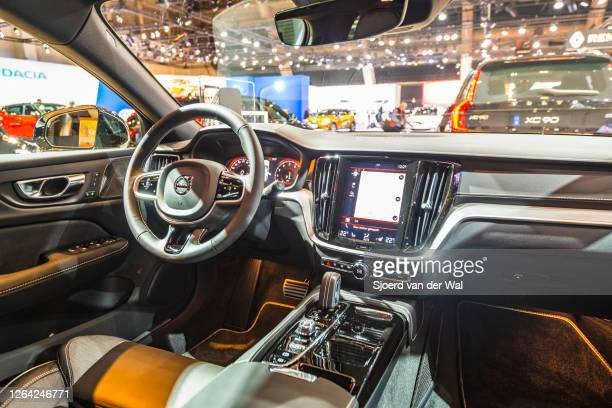 Volvo S90 executive sedan car interior on display at Brussels Expo on January 9, 2020 in Brussels, Belgium. The Volvo S90 is available as sedan and...
