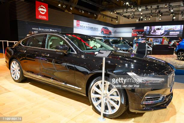 Volvo S90 executive sedan car on display at Brussels Expo on January 9 2020 in Brussels Belgium The Volvo S90 is available as sedan and as station...