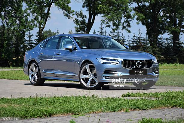 volvo s90 on the street - volvo stock pictures, royalty-free photos & images