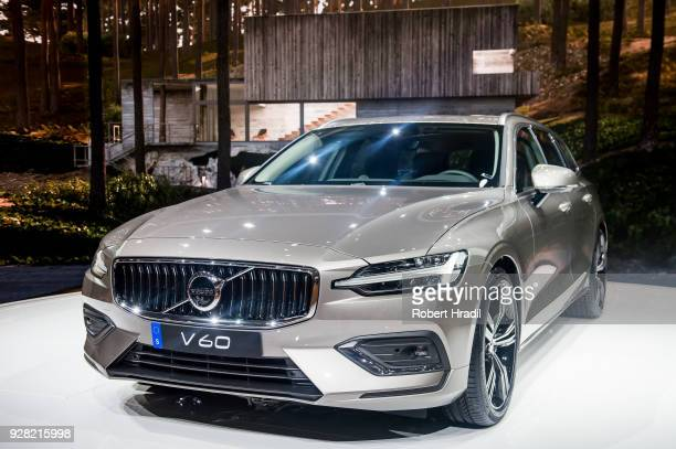 Volvo V 60 is displayed at the 88th Geneva International Motor Show on March 6 2018 in Geneva Switzerland Global automakers are converging on the...