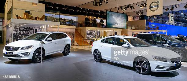 volvo v60 and xc60 at the volvo stand - volvo stock pictures, royalty-free photos & images