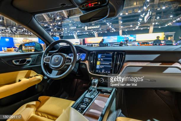 Volvo V60 Cross Country executive plug-in hybrid station wagon car interior on display at Brussels Expo on January 9, 2020 in Brussels, Belgium. The...