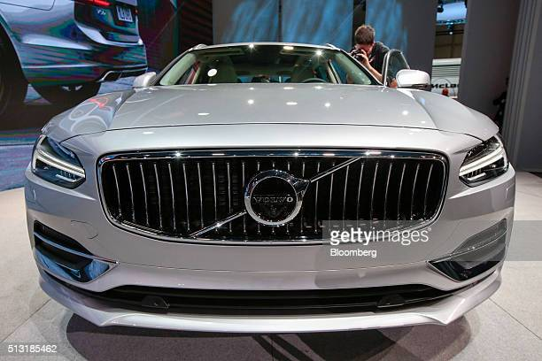 A Volvo V90 automobile produced by Volvo Cars sits on display on the first day of the 86th Geneva International Motor Show in Geneva Switzerland on...