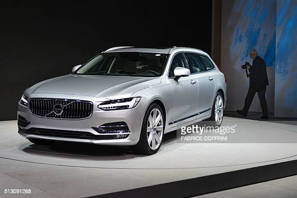A Volvo V90 estate model is displayed at the Swedish carmaker stand on the eve of the press day of the Geneva Motor Show on February 29 2016 in...