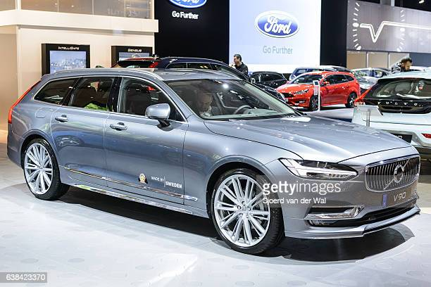 volvo v90 luxury estate car front view - volvo stock pictures, royalty-free photos & images