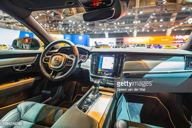Volvo V90 luxury estate car interior on display at Brussels Expo on January 9, 2020 in Brussels, Belgium. The V90 is equipped with a large touch...