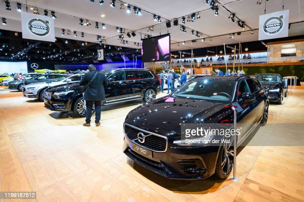 Volvo V90 T4 luxury estate car and Volvo XC90 SUV on display at the Volvo motor show stand at Brussels Expo on January 9, 2020 in Brussels, Belgium....