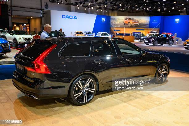Volvo V90 T4 luxury estate car on display at Brussels Expo on January 9 2020 in Brussels Belgium The Volvo V90 is available as stationwagon and as...