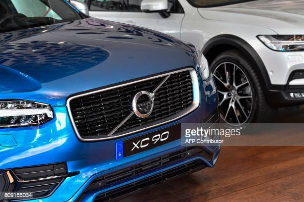 A Volvo XC 90 is pictured at the Volvo Cars Showroom in Stockholm Sweden on July 05 2017 Volvo Cars CEO Hakan Samuelsson said that all Volvo cars...