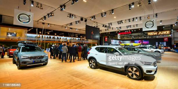 Volvo XC40 crossover SUV car on display at the Volvo motor show stand at Brussels Expo on January 9, 2020 in Brussels, Belgium. The XC40 is available...