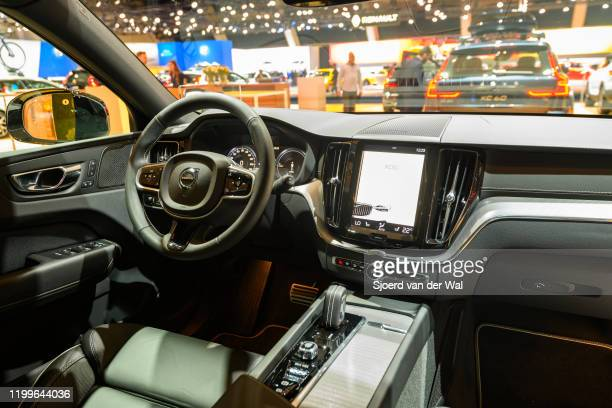 Volvo XC60 crossover SUV interio on display at Brussels Expo on January 9, 2020 in Brussels, Belgium. The XC60 is available with petrol and diesel...